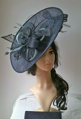 Navy & Aqua Hatinator.Large oval disc with bow & quills Wedding.races.ascot.