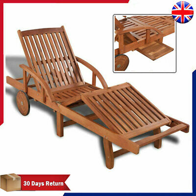 Solid Wooden Garden Recliner Sun Lounger Chair Bed Pool Chaise Outdoor Furniture