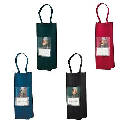 FIVE (5) Non-woven Wine/Bottle Carriers clear front & pocket for your message