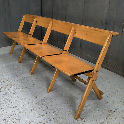 Aberdeen 1965 Vintage 'James Bennet, Glasgow' Beech Four Seater Folding Benches