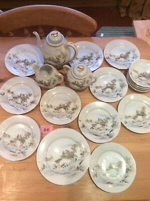 VINTAGE JAPANESE ORIENTAL HAND PAINTED EGGSHELL PORCELAIN 23 piece TEA SET