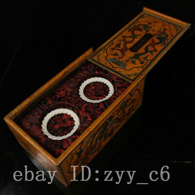 China Qing Dynasty palace Hand-carved white jade bracelet Old lacquer box