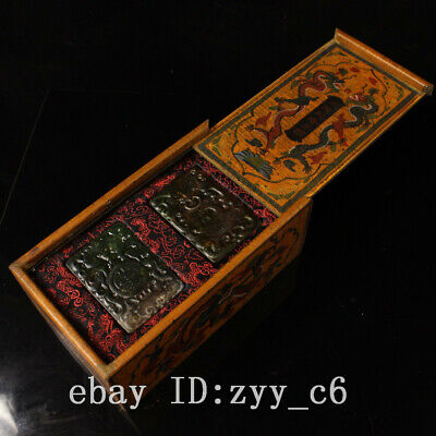 China Qing Dynasty Palace royal Hand carved Cyan jade a pair Old lacquer box