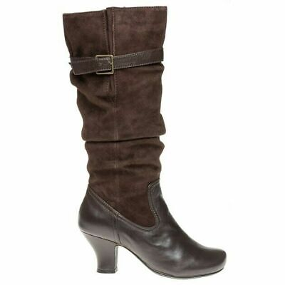 Ladies Hotter Charlene DK Brown Suede Leather Slouch Kitten Heel Mid Calf Boots