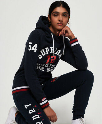 New Womens Superdry Track & Field Hoodie Eclipse Navy