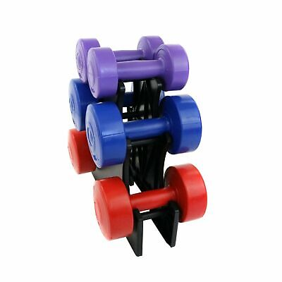 12kg Vinyl Dumbbell Workout Weight Set Fitness Training Stand Heavy Duty Gym UK
