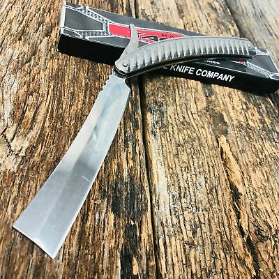 STAINLESS STEEL Straight Blade Barber Razor Folding Pocket Knife Shaving SHARP