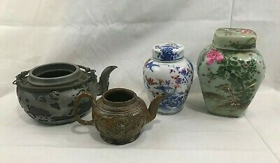 (4) Antique Chinese / Japanese Pottery Porcelain Ginger Jars Teapots (AsIs)