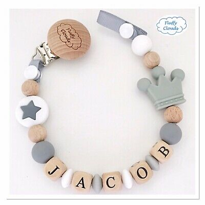Personalized Dummy Clip Silicon + Beech Wood Pacifier Holder ~ Baby Boys~Premium
