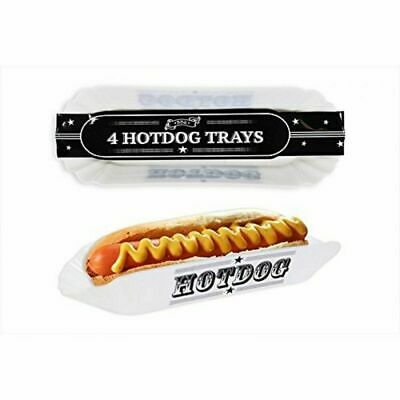 Pack Of 4 Hot Dog Serving Basket Trays BBQ Reusable Party Picnic