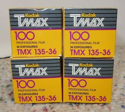 Kodak Professional TMax TMX 100 135 36 exp black & white film 4 rolls EXPIRED