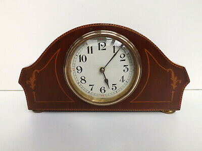 Antique Earl 1900s Japy Freres Inlaid Mahogany Mantle Clock