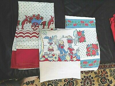 Mid Century Printed Cotton Lot of 3 Pieces - Reds/Blues Use or Repurpose - Nice