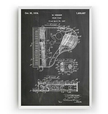 Grand Piano 1928 Patent Print Poster Music Student Art Decor Gift - Unframed
