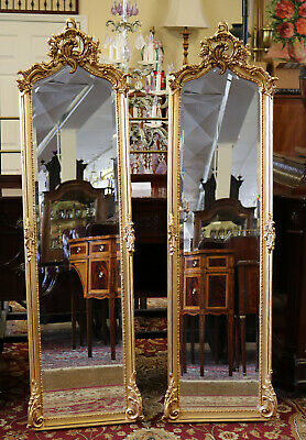 Gorgeous Pair Beveled Glass Carved Gesso on Wood French Tall Mirrors MINT