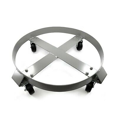 Drum Dolly 1000 Pound Capacity 30 Gallon Heavy Duty Steel Frame Non Tipping