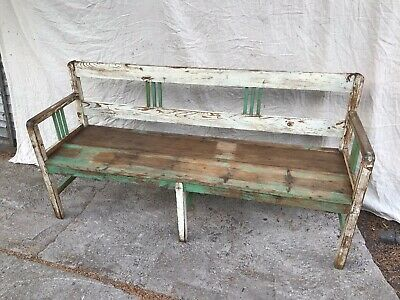 19th C Pine Bench Seat Settle With Original Paint