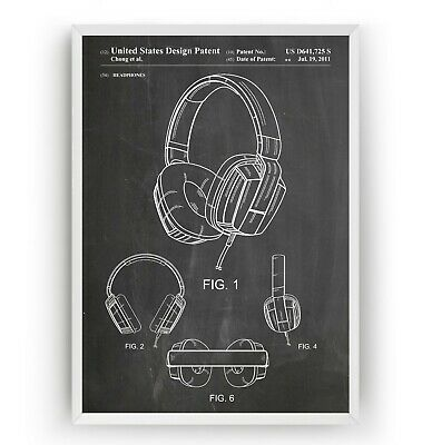 Headphones Patent Print - Games Room Retro Poster Wall Art Decor Gift - Unframed
