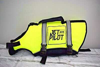 Jet Pilot Dog PDF Life Jacket Size Medium Fluorescent Yellow Nylon & Neoprene