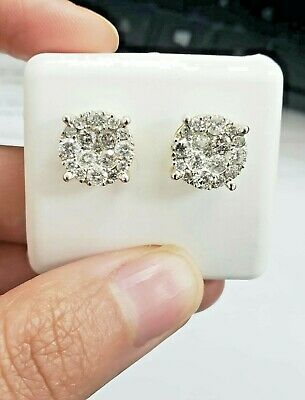Real 10k White Gold Round Cuts VS1 1.05 CT Genuine Diamond Stud Earring Men's