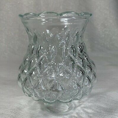 "Vintage Diamond Quilted Clear Glass Lamp Shade Sconce Light Cover 1 5/8"" Fitter"