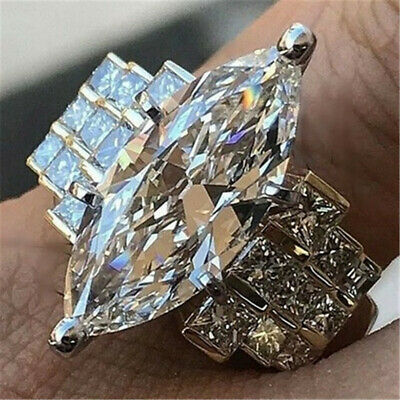 Women 925 Silver White Topaz Band Ring Wedding Proposal Sparking Party Size 6-10