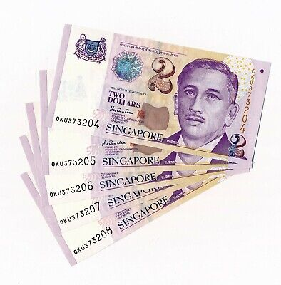 SINGAPORE 2 Dollars $2 P. 38 1999 - 5 Consecutive Notes - UNC