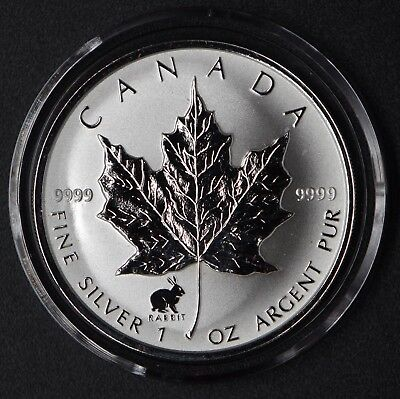 1999 Canada 1 oz. Silver Maple Leaf Rabbit Privy Mark! W/Cap&Box (25,000 minted)