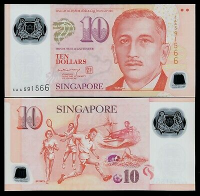 SINGAPORE $10 10 Dollars ND 2005 P48 Soccer UNC Polymer Note