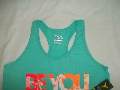 Old Navy Girl's Active Tank Top Shirt Size XL 14 Go-Dry Cool Turquoise Blue NWT