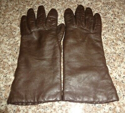 Vintage Women's Genuine Leather Brown Gloves Size 7