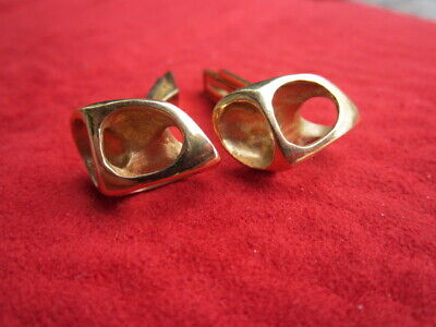 Vintage Ed Wiener 14K  Cast Yellow Gold Modernist Biomorphic Cufflinks Beautiful
