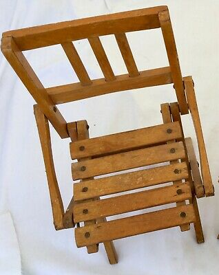 Antique Vintage Child Wooden Slatted Folding Chair Toddler  Doll Seat