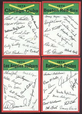 1974 Topps Baseball Team Checklist - You Pick - Unmarked - Sharp - Centered Nmmt