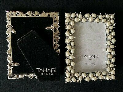 """TWO Tahari Home Picture Frames 2.5"""" x 3.5"""" with Pearl Embellishments NEW"""