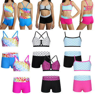 Girls Two Piece Dance Outfit Kids Gymnastics Polka Dots Striped Crop Tops+Shorts
