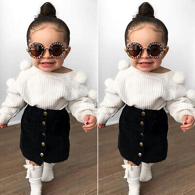 Fashion Baby Kids Girl Clothes Cute Pom Pom Sweaters Tops+Skirts Autumn Outfits