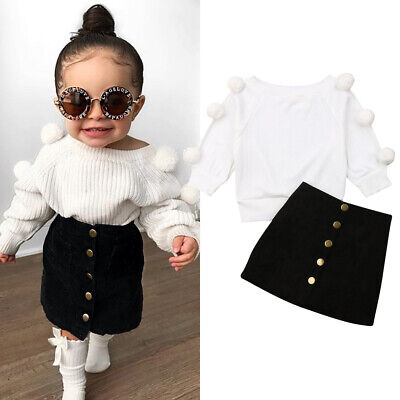 2pcs Toddler Baby Girl Clothes Knitted Tops T-Shirt Skirt Dresses Outfits Set UK