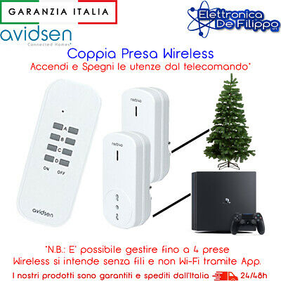 Kit Due Prese Elettriche Comandate A Distanza Con Telecomando Wireless Incluso