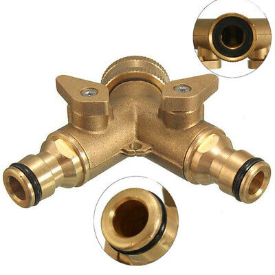 3/4in Solid Brass Double Two Way Garden Tap Connector Adaptor Hose pipe Splitter