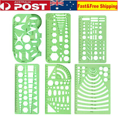 Set of 6 Plastic Geometric Stencils Measuring Templates for Office and School AU