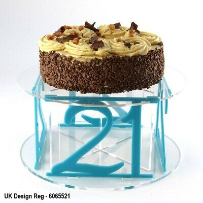 21st Birthday Design Acrylic Cake Stand with 50 Colour Options Party Flat-Pack