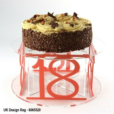 18th Birthday Design Acrylic Cake Stand with 50 Colour Options Party Flat-Pack
