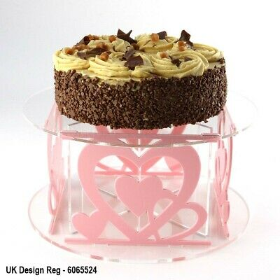 Love Hearts Design Acrylic Cake Stand with 50 Colour Options Party Flat-Pack