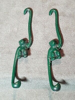 "Cast Iron? JAPAN Vintage Monkey Pot Hooks Plant Hangers Mid Century 8"" Green"