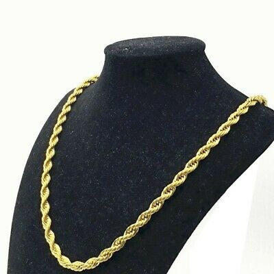 "18K Solid Gold Rope Chain Necklace Men Women 16"" 18"" 20"" 22"" 24"" 26"" 28"" 30"