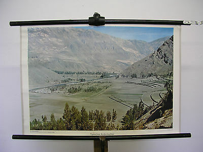 Pretty Old Mural Typical Andenhochtal Mountains America 75x51cm Vintage~1960