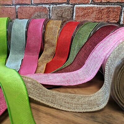 Real Wired Hessian Ribbon 38mm Wide Burlap Jute Rustic Bow Making Gift Wrap - 1M
