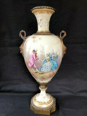 Antique Sevres French Porcelain Bronze Mounted Vase. Signed + Sevres Mark