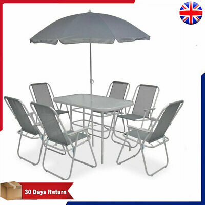 Garden Patio Furniture Set 8 Piece Outdoor Dining Table Chairs Seat with Parasol